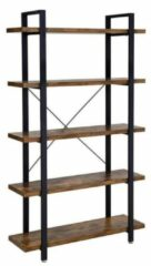Maison Home Maison's Boekenkast - Boekenrek - Vakkenkast - 5 planken - Industrieel - Bruin - Zwart - 105x33,5x177,5