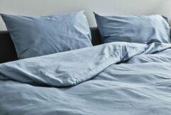 Blauwe Kepri Dekbedovertrek - Eenpersoons - Satijn Katoen - Faded Denim - Duurzaam - 500TC - 140 x 220 cm