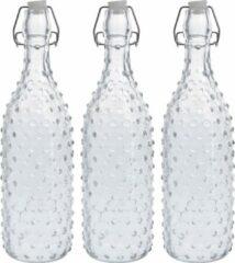 Zeller 3x Glazen flessen transparant stippen met beugeldop 1000 ml - Keukenbenodigdheden - Woondecoratie - Tafel dekken - Koude dranken serveren/bewaren - Olie/azijn flessen - Decoratie flessen