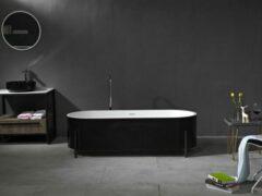 Mawialux vrijstaand bad | Solid surface | 170x70cm | Wit - zwart | ML-103-VBMG-WZ