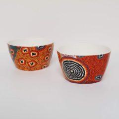 Oranje Alperstein Designs Designkommen set van 2 - Ruth Napaljarri Stewart - Aboriginal collectie