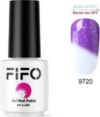 FIFO Nails, Thermo Gel Polish - Glitter - Kristal - Thermo Gellak - Temperatuurgevoelige nagellak - Thermische nagellak - Temperatuur veranderende - Kleur veranderende #9720 ( Paars – Wit) (Glitter) - UV & LED