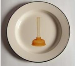 Beige 2ST Emaille borden van Seletti met ontstopper 'Toiletpaper' plate