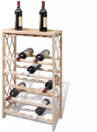 Afbeelding van Bruine VidaXL Houten wijnrek voor 25 flessen