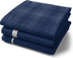 Twentse Damast 3pack Keukentextiel Mix&match - Marineblauw