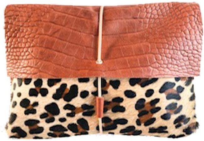 Afbeelding van Mozz Bags MOZZ Luieretui Leer Croco Cognac Jaguar