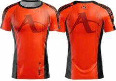 T-shirt Arawaza | dry-fit | oranje-zwart | maat M