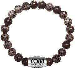 CO88 Collection Elemental 8CB 17033 Rekarmband met Stalen Element - Snowflake Natuursteen 8 mm - One-size - Zwart