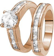 Lucardi Eve Rose Plated 2 Delige Ring - Met Zirkonia - Maat 57