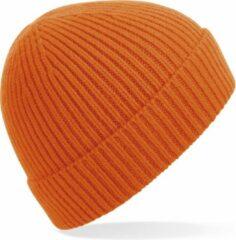 Beechfield Gebreide Ribbed Beanie wintermuts in het oranje voor volwassenen - Damesmutsen / herenmutsen - 97% polyacryl en Elastaan