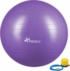 Tresko Fitnessbal met pomp - diameter 65 cm - Paars