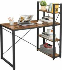 MIRA Home - Bureau - Computertafel met planken - Thuiskantoor - Industrieel - Vintage - Bruin/zwart - 120x60-x76/120