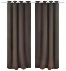 Zwarte VidaXL Gordijnen met metalen ringen verduisterend 135x175 bruin 2 st