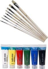 Artist & Co Set van 6 tubes acryl/hobby verf met 8 schilder penselen in verschilende diktes - schilderen voor kinderen
