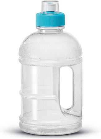 Afbeelding van 1x Transparante kunststof bidon/drinkfles/waterfles 1250 ml - Sport bidon waterflessen - Push-pull dop