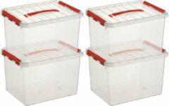 Merkloos / Sans marque 10x Sunware Q-Line opberg boxen/opbergdozen 22 liter 40 x 30 x 26 cm kunststof - opslagbox - Opbergbak kunststof transparant/rood