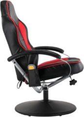 VidaXL Massagestoel verstelbaar met voetenbankje kunstleer zwart rood