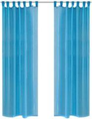 VidaXL - Kant en klaar gordijn - Turquoise - 140x175 cm - 2 stuks