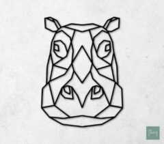 Laserfabrique Wanddecoratie - Geometrische Nijlpaard - Zwart - 56cm - Houten Dieren - Muurdecoratie - Line art - Wall art