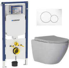 Douche Concurrent Geberit UP720 Toiletset - Inbouw WC Hangtoilet Wandcloset Rimfree - Shorty Flatline Sigma-01 Wit