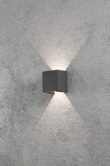 Antraciet-grijze Konstsmide 7959 - Wandlamp - Cremona PowerLED 230V flush 13.5cm - 2x 3W - warmwit 3000K - antraciet