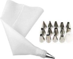Cabantis Siliconen Spuitzak met Spuitmondjes|16-delig|Garneerspuit|Slagroomspuit|Decoratie|Decoratieve Accessoires|Wit