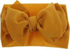 MINIIYOU® Baby & peuter Haarband met strik 6-36 maanden | Baby en peuter hoofdband mosterdgeel | verstelbaar in maat | hoofdband grote strik