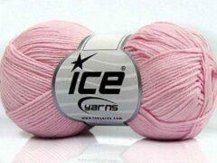 Roze Ice yarns Haak en breigaren 100% katoen garen licht rose – breien en haken naald 3 mm – bollen van 50 gram haakgaren looplengte 170 meter | dewolwinkel.nl