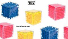 Thema party 10x Balance Maze Labyrint 5cmx5cmx5cm assortie kleuren - Schoencadeautjes sinterklaas Speelgoed maze sinterklaas schoen kado