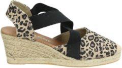 Bruine Nelson dames sandaal op sleehak - Leopard - Maat 40