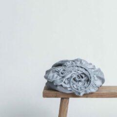 Coco & Cici zacht, luxe en duurzaam beddengoed - hoeslaken - lits-jumeaux - 180 x 200 x 30 - blauw grijs