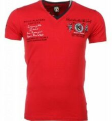 Rode T-shirt Korte Mouw David Mello Italiaanse T-shirt - Korte Mouwen Heren - Borduur Polo Players