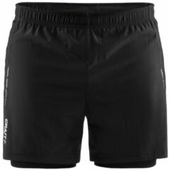 Zwarte Craft Essential 2-In-1 Shorts M Sportbroek Heren - Black - Maat XL