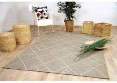 In & Outdoor Chenille Teppich Flachgewebe Scala Beige Karo Modern Pergamon Beige