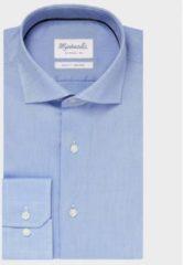 Shirtdeal - Uni Blauw Oxford katoenen overhemd van Michaelis-boordmaat: 44