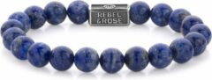 Rebel & Rose Rebel and Rose RR-8S002-S Rekarmband Beads Lapis Lazuli zilver 8 mm zilverkleurig-blauw XL 21 cm