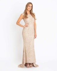 Beige Brian by Brian Rennie Abendkleid mit Allover-Pailletten