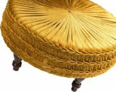 Duverger® Pleated - Poef - rond - oker - geplisseerde stof - dia 60cm - houten pootjes