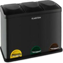 Zwarte Klarstein Ecosysteem Edelstaal-Pedaalafvalemmer Recycling 45 liter in drie emmers, 15 liter per emmer