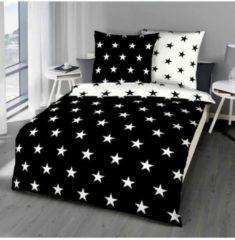 Mako-Satin Bettwäsche Stars schwarz Bettwaren-Shop schwarz