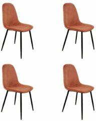 Roze PoleWolf - Blossom chair - Velvet - Copper - Promotion - Set of 4