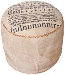 Links Link&acutes Letterhand Sitzhocker hellbraun mit Textildruck
