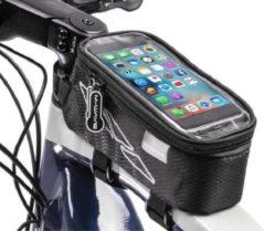 Zwarte XL Touchscreen Fietsframe Tas 1.5l - Grote Enkele Afneembare Frametas - Met groot touchcreen voor Smartphone / iPhone / Samsung Mobiele Telefoon Houder Afneembaar - Waterdicht - Ideaal voor MTB