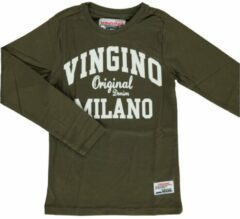 Vingino! Jongens Shirt Lange Mouw - Maat 92 - Olijfgroen - Katoen