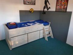 Grijze Droommeubel Concurrent Eenpersoons bed met opbergruimte