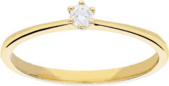 Glow ring met diamant solitaire - 1-0.07ct G/SI - geelgoud 14kt - mt 52