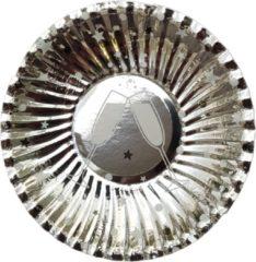 Joni's Oliebol bordjes Chapagne zilver 8 stuks 10 cm