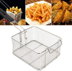 Meco Camping Picnic BBQ Stainless Steel Chip Fish Fat Frying Deep Fryer Net Storage Baskets