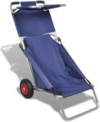 Blauwe VidaXL - Tuinstoel Draagbare 3-in-1 strandstoel met zonnedak/beach trolley/strandtafel (blauw)