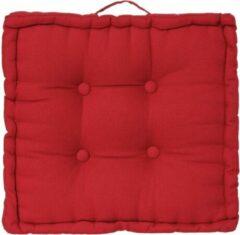 Atmosphera DELUXE stoelkussen rood 40 x 40 H8 cm - Extra dik met handvat - 4 Knopen - Vloerkussen - Loungekussen